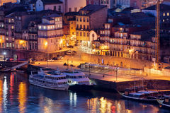 Porto by Night in Portugal Stock Images