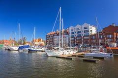 Porto no rio de Motlawa na cidade velha de Gdansk Imagens de Stock