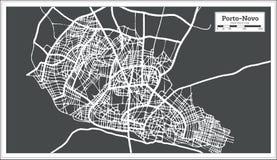 Porto Novo Benin City Map no estilo retro Ilustração preto e branco do vetor ilustração do vetor