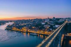 Porto observed from Serra do Pilar, Vila Nova de Gaia. Portugal. Long exposure shot Porto observed from Serra do Pilar, Vila Nova de Gaia. Portugal Stock Images