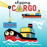 Porto occupato, fumetto del carico di trasporto illustrazione di stock