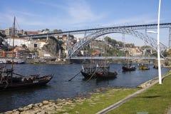 Porto och Vila Nova de Gaia Portugal Fotografering för Bildbyråer