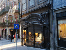 Porto old street and stores. Royalty Free Stock Photo