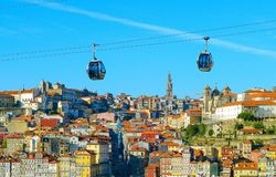 Porto Old Town cable car. Cable car in Porto Old Town with. Portugal stock photo