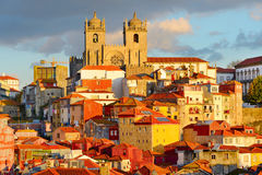 Porto Old Town, Portugal. View of Ribeira - the Old Town of Porto at sunset. Portugal stock photos