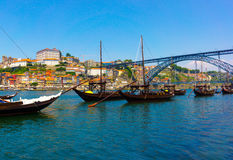 Porto ols city. Porto, Portugal old town skyline on the Douro River with rabelo boats Stock Image