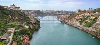 Porto Oporto downtown with Monastery of Serra do Pilar and Douro river Stock Photography