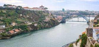 Porto Oporto downtown with Monastery of Serra do Pilar and Douro river Stock Image