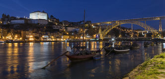 Porto or Oporto - Portugal. Night view of the city of Oporto or Porto in Portugal. Porto is one of the oldest European ports, and its historical centre was Stock Photos