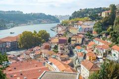 Porto Oporto town architecture with Douro river and Arrabida bridge background Stock Photography