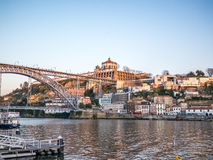 Porto over Douro River. Serra do Pilar Monastery at Sunset stock photos