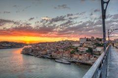 Porto på solnedgången Arkivfoto