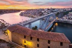 Porto på solnedgången i Portugal Royaltyfria Foton
