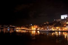 Night panoramic view of the Porto city center and the Douro river with the lights reflections in the water stock image