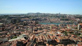 Porto panorama skyline. Panoramic views of historic city center of Porto in Portugal from top of Clerigos Tower, one of the landmarks and icon of Oporto. Urban stock footage