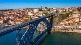 Porto panoramic aerial view of Dom Luis Bridge and houses with r stock photos