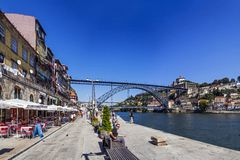 Porto - People enjoy the Ribeira district Stock Photography