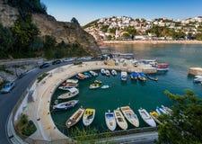 Porto pequeno dos barcos de pesca Ulcinj, Montenegro Imagens de Stock Royalty Free