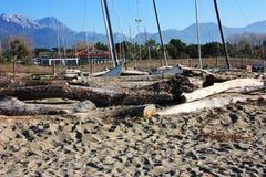 Porto pequeno ou porto temporário em uma praia do inverno fotos de stock royalty free