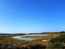 Porto Pino pond panoramic view. Sardinia, Italy Stock Image