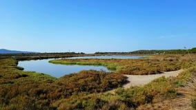 Porto Pino pond panoramic view. Sardinia, Italy Royalty Free Stock Images