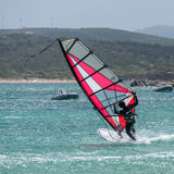 PORTO POLLO, SARDINIA/ITALY - MAY 21 : Windsurfing at Porto Poll Stock Photos