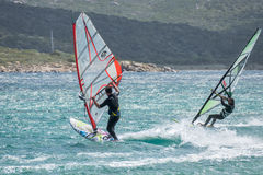 PORTO POLLO, SARDINIA/ITALY - MAY 21 : Windsurfing at Porto Poll Royalty Free Stock Photo