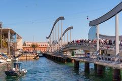 Porto ponte de Barcelona, Rambla de março Foto de Stock Royalty Free