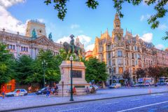 Liberty statue of the king Pedro the IV in Porto, Portugal Stock Photography