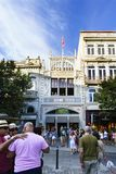 Porto, Portugal. August 12, 2017: The library called Lello facade where J. K. Rowling was inspired for the diagon alley bookstore,. With many tourists visiting Royalty Free Stock Photo