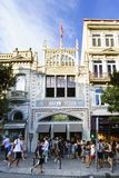 Porto, Portugal. August 12, 2017: The library called Lello facade where J. K. Rowling was inspired for the diagon alley bookstore,. With many tourists visiting Stock Photography