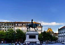 Porto, Portugal. August 12, 2017: monument to King Dom Pedro IV in the Plaza de la Libertad in the historic and stately quarter of. The city stock image