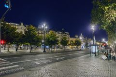 Porto, Portugal. August 12, 2017: Night view of the Plaza de la Libertad in the most stately area of the city with people strollin. G stock photo