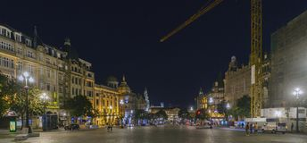 Porto, Portugal. August 12, 2017: Panoramic night of the Plaza de la Libertad in the most stately area of the city with people str. Olling stock image