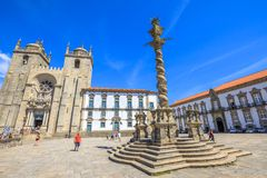 Cathedral of Porto. Porto, Portugal - August 11, 2017: romanesque and gothic architecture of Porto Cathedral or Se do Porto, Episcopal Palace and and Pillory or Stock Image