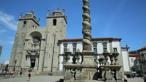 Cathedral of Porto. Porto, Portugal - August 11, 2017: romanesque and gothic architecture of Porto Cathedral or Se do Porto, Episcopal Palace and and Pillory or stock video