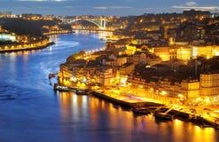 Porto, Portugal bij nacht Royalty-vrije Stock Foto's