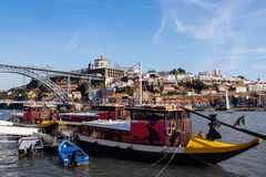 Porto, Portugal. Boats on the Douro River royalty free stock photos