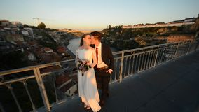Porto, Portugal the bride and groom stock video footage