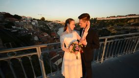 Porto, Portugal the bride and groom stock video