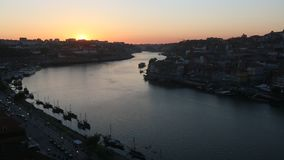 Porto, Portugal cityscape over the Douro River. Travel. stock video