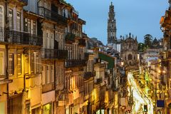 Porto, Portugal. Cityscape towards Clerigos Church stock image