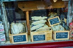 PORTO, PORTUGAL - December 9, 2018: Portuguese dried and salted cod fish bacalhau at local store in Porto