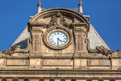 Detail view at the São Bento train station coverage, Beaux arts style royalty free stock photo
