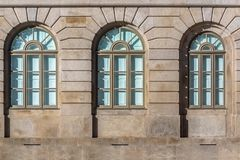 Detailed view at the windows at the University of Porto rectory building stock photo