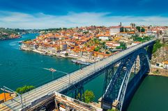 Porto, Portugal: Dom Luis I Bridge over Duoro river and view over old town stock photography