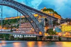 Porto, Portugal: the Dom Luis I Bridge and the Serra do Pilar Monastery on the Vila Nova de Gaia side Stock Image