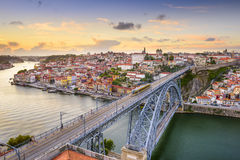 Porto, Portugal em Dom Luis Bridge foto de stock royalty free