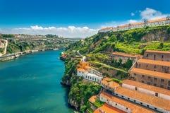 Porto, Portugal: hills of Vila Nova de Gaia and wine cellars over Duoro river royalty free stock photo