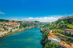 Porto, Portugal: Ponte Infante D Henriques bridge over Duoro river connecting Vila Nova de Gaia and Ribeira district stock photos